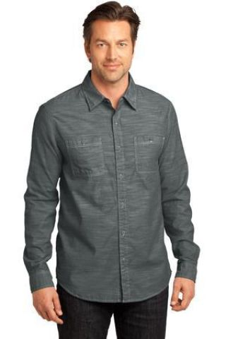 DM3800 District Made Mens Long Sleeve Washed Woven Shirt Catalog