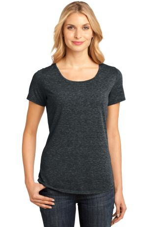 DM441 District Made Ladies Tri-Blend Lace Tee Charcoal Hthr