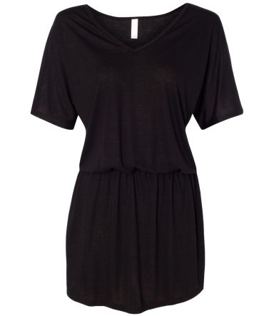 8812 Bella + Canvas Ladies' Flowy V-Neck Dress BLACK