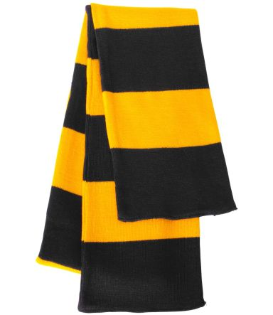 SP02 Sportsman  - Rugby Striped Knit Scarf -  Black/ Gold