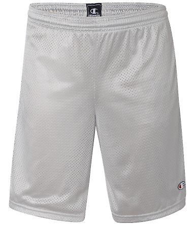S162 Champion Logo Long Mesh Shorts with Pockets Athletic Grey