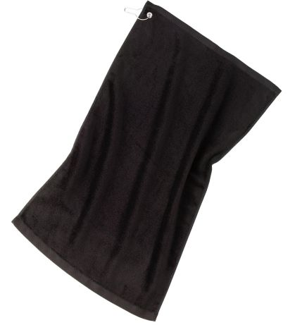 Port Authority TW51    Grommeted Golf Towel Black