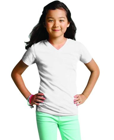 LAT 2607 Girls' V-Neck Fine Jersey T-Shirt WHITE
