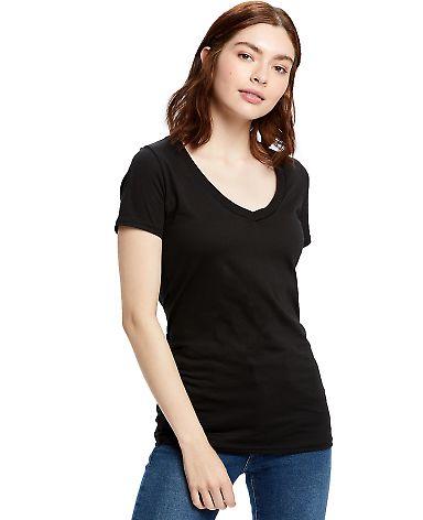 US Blanks US120 Ladies' 4.3 oz. Short-Sleeve V-Nec Black
