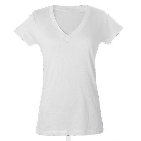 0214 Tultex Ladies' Slim Fit Fine Jersey V-Neck Te White
