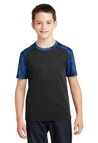 Sport Tek YST371 Sport-Tek Youth CamoHex Colorblock Tee Catalog