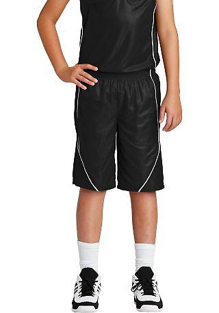 Sport Tek YT565 Sport-Tek Youth PosiCharge Mesh Re Black/White