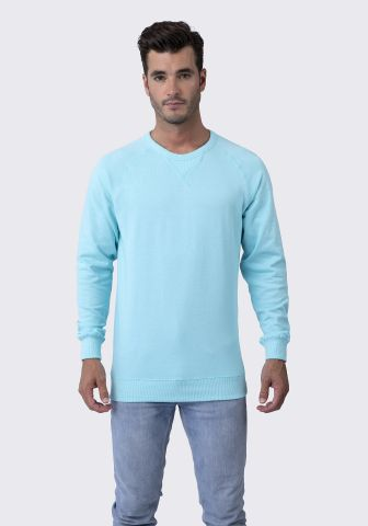 Cotton Heritage M2430 French Terry Crew Pullover Aqua Mist