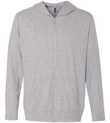 Anvil 6759 Triblend Hooded Full-Zip T-Shirt HEATHERGREY
