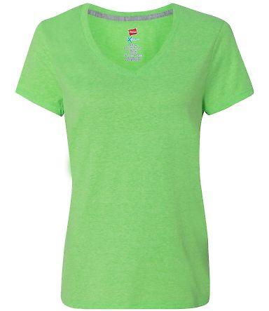 Hanes 42V0 X-Temp Women's V-Neck T-Shirt Neon Lime Heather