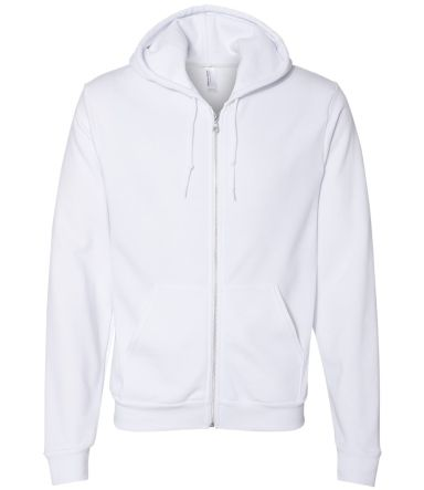 F497W Unisex Flex Fleece Zip Hoodie WHITE