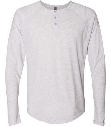 184 6072 Tri-Blend Long Sleeve Henley HEATHER WHITE