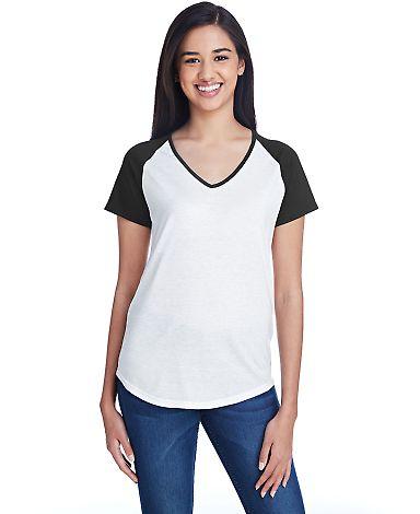 49 6770VL Ladies' Tri-Blend Raglan T-Shirt WHITE/ BLACK