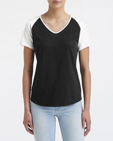 49 6770VL Ladies' Tri-Blend Raglan T-Shirt Black White