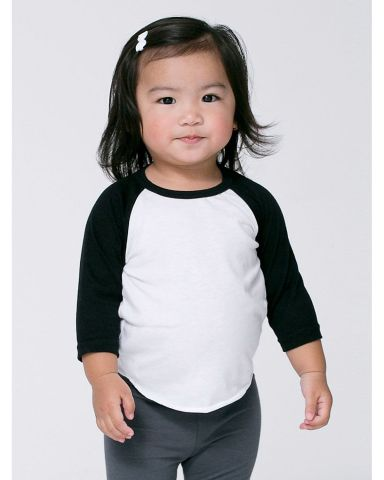 American Apparel BB053W Infant Poly-Cotton 3/4-Sle WHITE/ BLACK