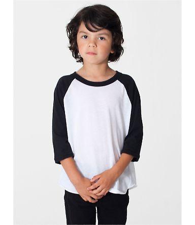 American Apparel BB153W Toddler Poly-Cotton 3/4-Sl WHITE/ BLACK
