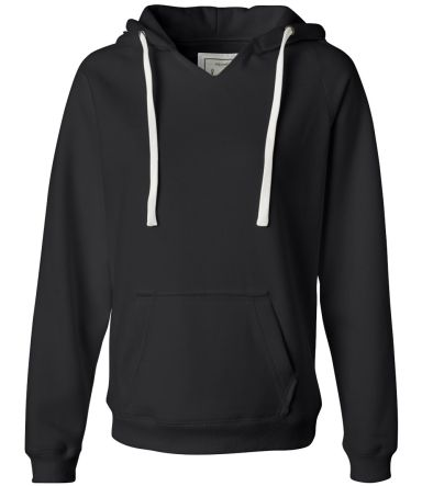 J America 8836 Women's Sueded V-Neck Hooded Sweats Black
