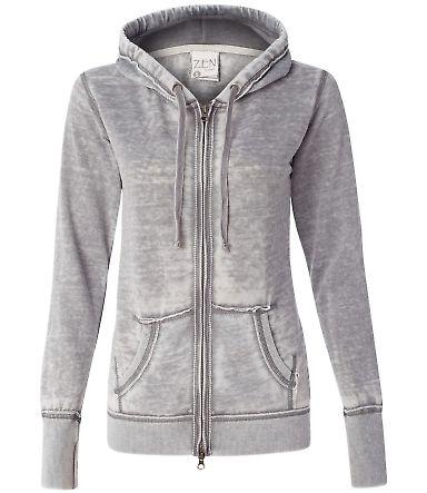 J America 8913 Women's Zen Fleece Full-Zip Hooded  Cement