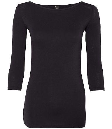 Anvil 2455L Women's Stretch Three-Quarter Sleeve T Black