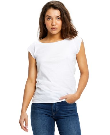 US180 US Blanks Ladies Cap Sleeve Jersey T-Shirt White