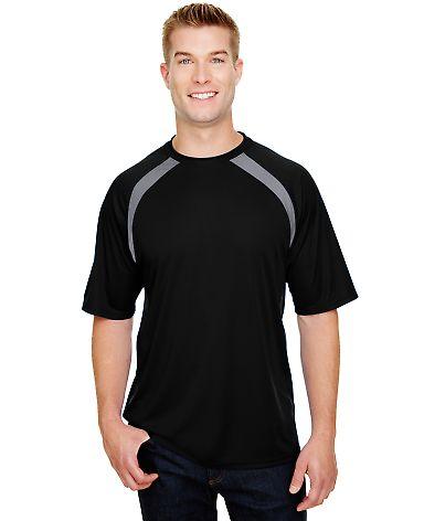 A4 Apparel N3001 Men's Spartan Short Sleeve Color  BLACK/ GRAPHITE