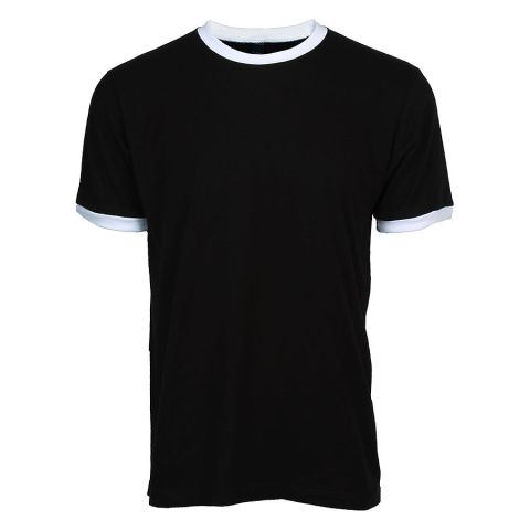 Tultex 246 / Unisex Fine Jersey Ringer Tee Black/White