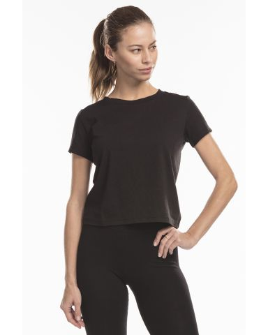 US Blanks US521 Women's Crop Crew T Black