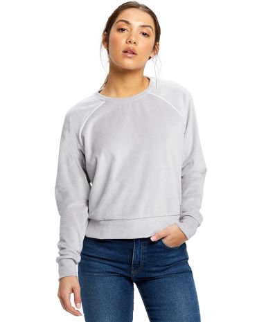 Ladies' Velour Long Sleeve Crop T-Shirt Silver