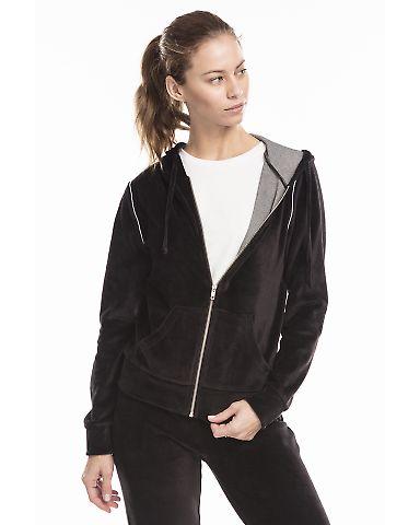 US Blanks / US565 Women's Plush Velour Zip Hoody Black