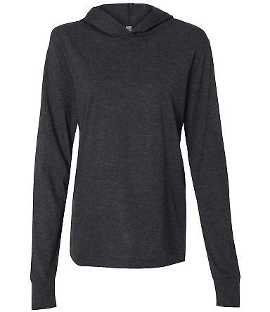 BELLA+CANVAS 3512 Unisex Jersey Hooded T-Shirt CHRCL BLCK TRBLN