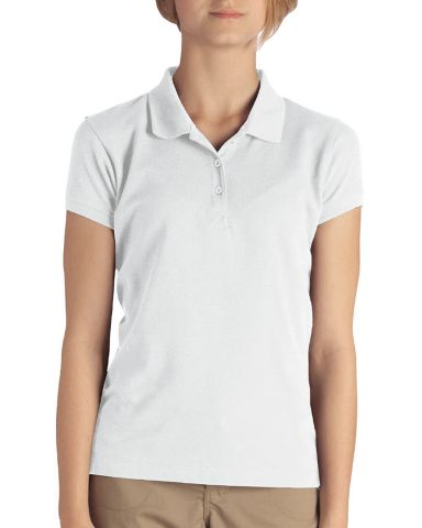 Dickies KS3952 Girl's  Short-Sleeve Pique Polo WHITE