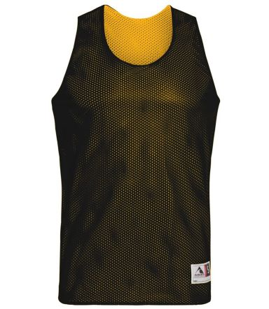 198 YOUTH TRICOT MESH REVERSIBLE TANK BLACK/ GOLD