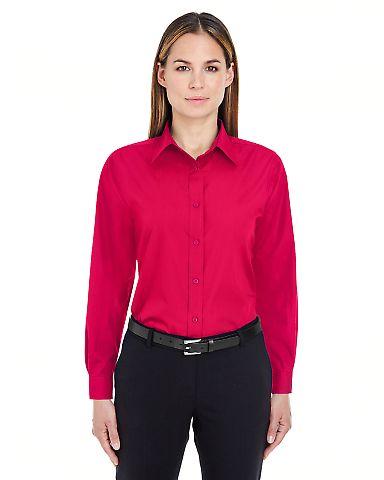 8331 UltraClub® Ladies' Blend Performance Poplin  RED