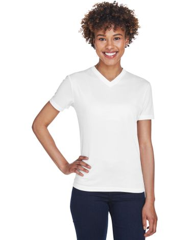 8400L UltraClub® Ladies' Cool & Dry Sport V-Neck  WHITE