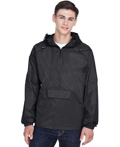 8925 UltraClub® Adult 1/4-Zip Hooded Nylon Pullov BLACK