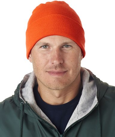 8130 UltraClub® Acrylic Knit Beanie with Cuff  BLAZE ORANGE