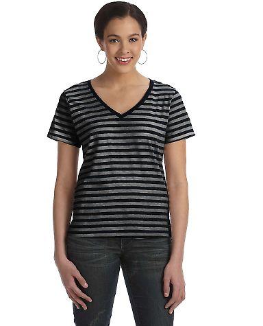 8823 Anvil Woman's Striped V-Neck Tee Black / Black Heather