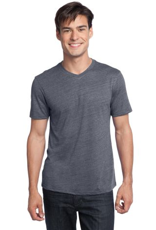 District Young Mens Textured Notch Crew Tee DT172 Charcoal