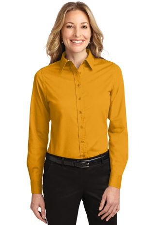 Port Authority Ladies Long Sleeve Easy Care Shirt  Athletic Gold