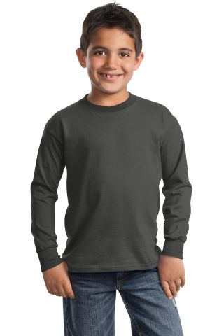 Port  Company Youth Long Sleeve Essential T Shirt  Charcoal