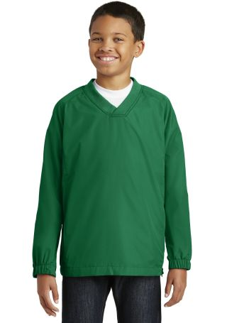 Sport Tek Youth V Neck Raglan Wind Shirt YST72 Kelly Green