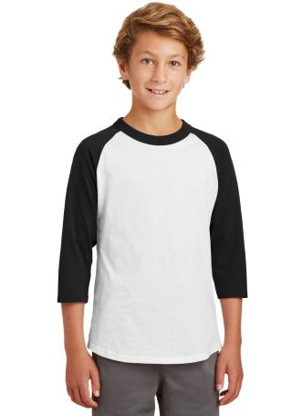 Sport Tek Youth Colorblock Raglan Jersey YT200 White/Black