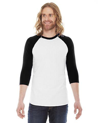 BB453 American Apparel Unisex Poly Cotton 3/4 Slee WHITE/ BLACK