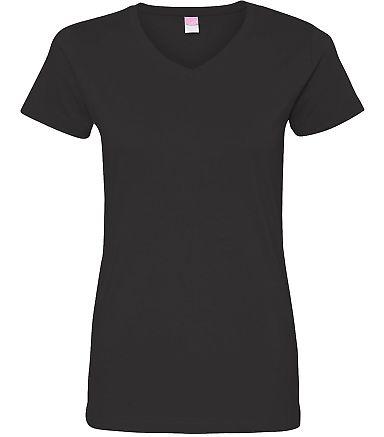 3507 LA T Ladies V-Neck Longer Length T-Shirt BLACK