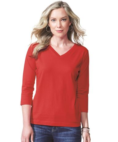3577 LA T Ladies' V-Neck 3/4-Sleeve T-Shirt Catalog