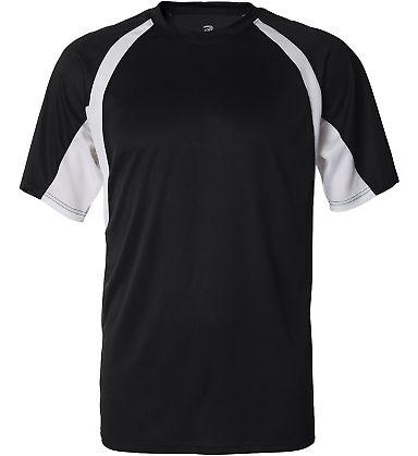 4144 Badger Adult B-Core Short-Sleeve Two-Tone Hoo Black/ White