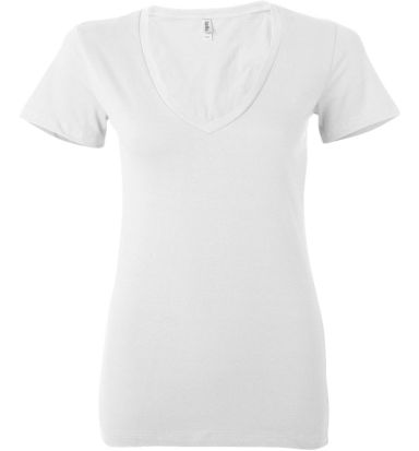 BELLA 6035 Womens Deep V-Neck T-shirt WHITE