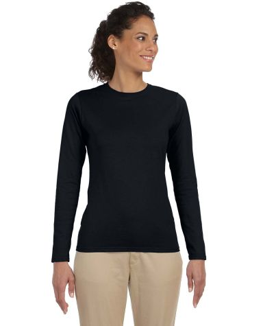 64400L Gildan Junior-Fit Softstyle Long-Sleeve T-S BLACK