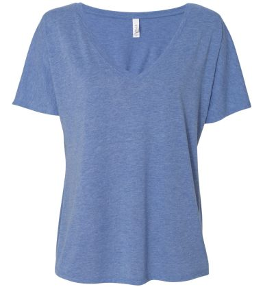 BELLA 8815 Womens Flowy V-Neck T-shirt BLUE TRIBLEND