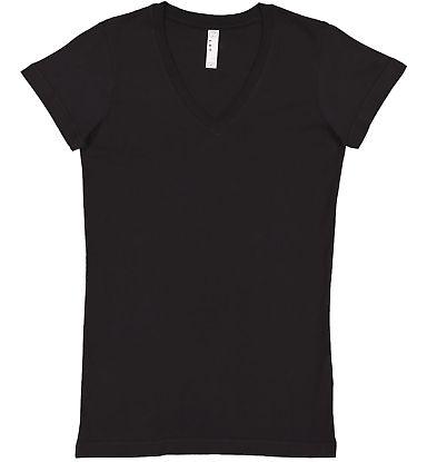 L3607 LA T Juniors' Fine Jersey V-Neck Longer Leng BLACK